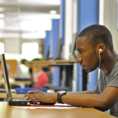 Wits student on laptop
