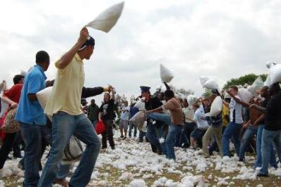 Stuffing lies thick on the ground as students let fly with pillows