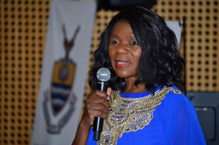 Thuli Madonsela speaking at a Wits Alumni networking event on 23 May 2017