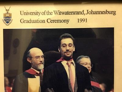 David Jacobson hoods his son Sven at his Wits graduation in 1991