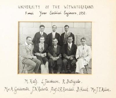 Final year electrical engineering class at Wits 1932