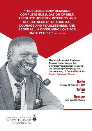 Robert Sobukwe Block renaming ceremony invitation