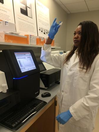 Dr Tiisetso Lephoto in the laboratory