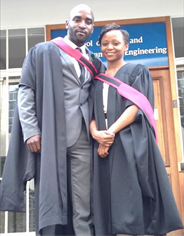 Zwelibanzi Mnguni and Faith Diketane on graduation day