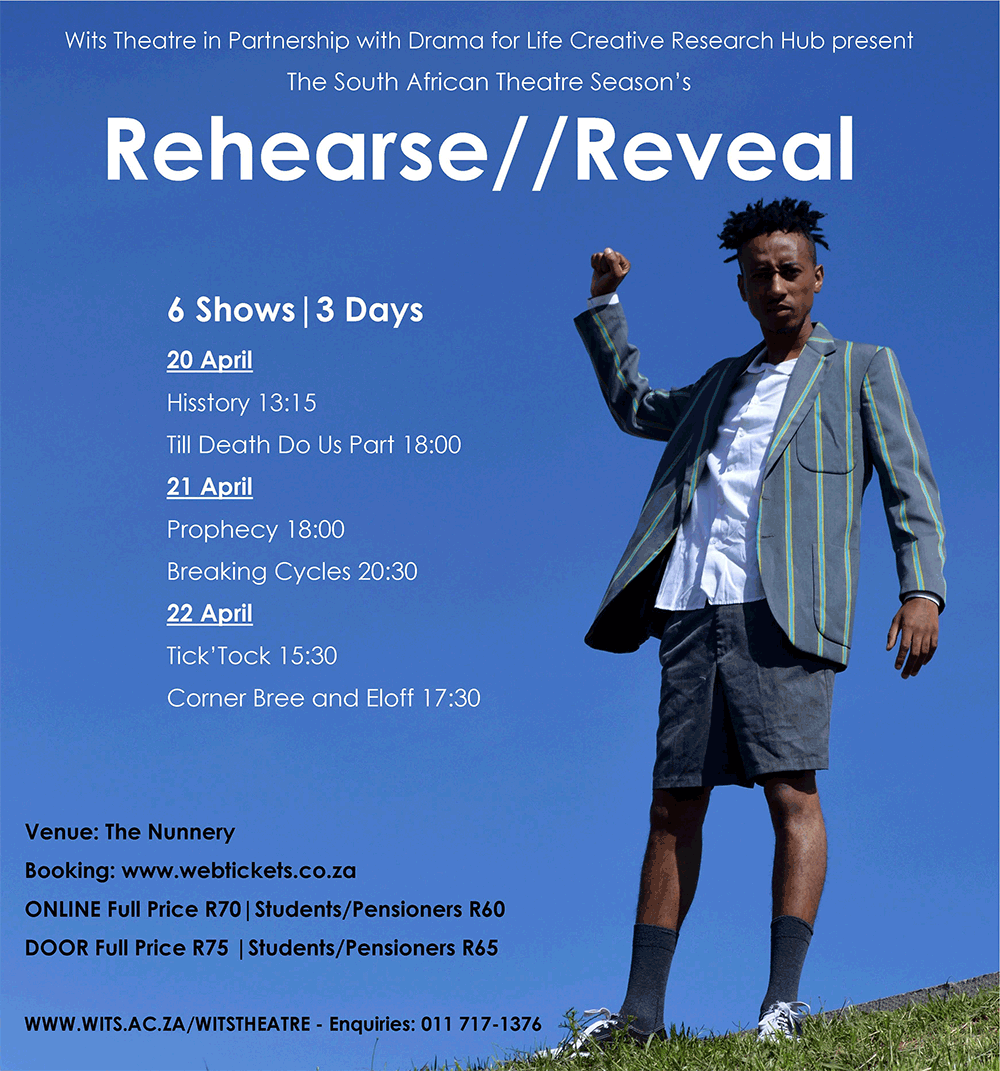 The Rehearse//Rehearse programme is presented by Wits Theatre in partnership with Drama for Life Creative Research Hub.