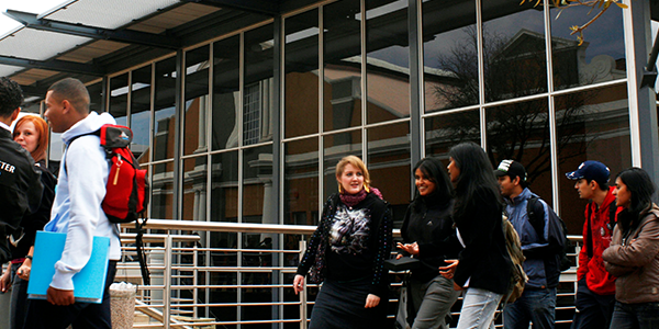 Students walking past the Chalsty Centre on West Campus