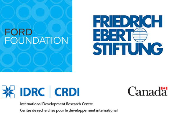 Ford Foundation, Friedrich Ebert Stuftung and IDRC logos