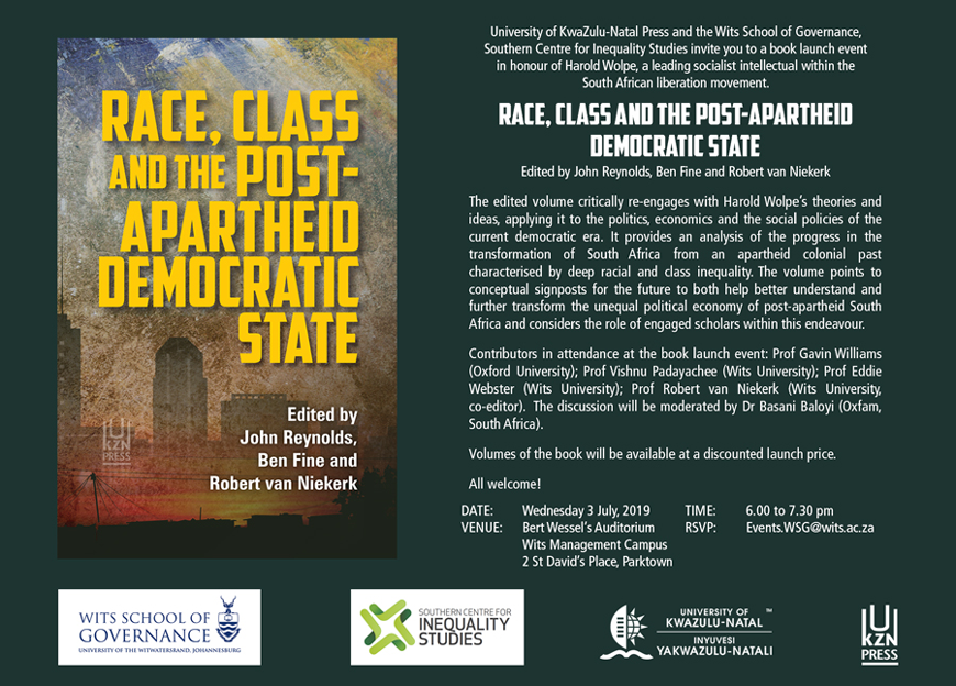 Race, Class and the Post-Apartheid Democratic State invitation to book launch