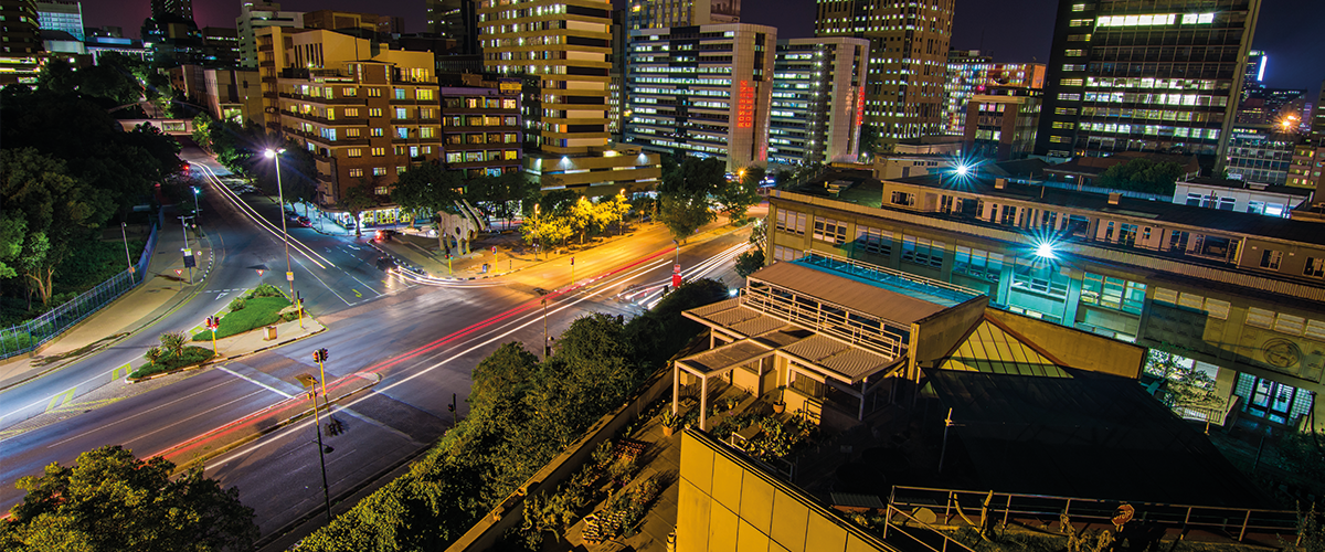 APES buildings at night, overlooking Braamfontein, copyright Jason Donaldson