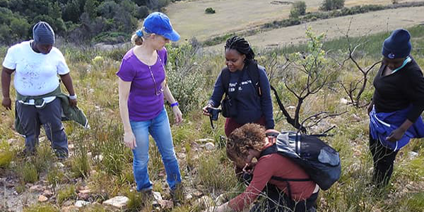 Sarah Wurz and postgrad students during a raw material sourcing trip in the Eastern Cape