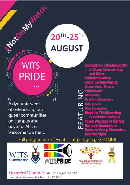 A flyer for Wits Pride 2018