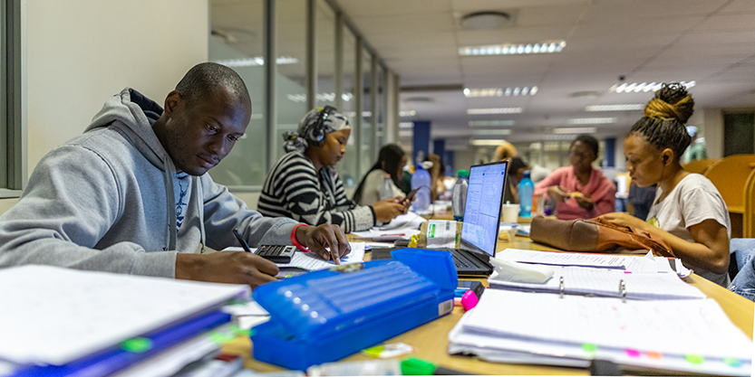 Students in Wits library credit Shivan Parusnath