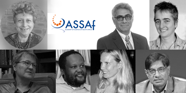 Wits researchers elected to the Academy of Science SA (clockwise from top left: Professors Karen Hofman, Imraan Valodia, Penelope Moore, Vishnu Padayachee, Sarah Nuttall, Bhekizizwe Peterson, and Isabel Hofmeyr.