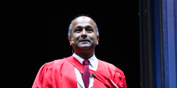 Professor Dilip Menon addressed graduands on 30 March 2017