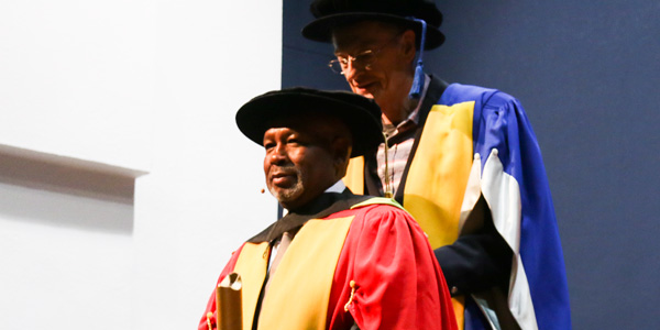 Dr Jabulane Mabuza being conferred with an honorary Doctorate of Commerce