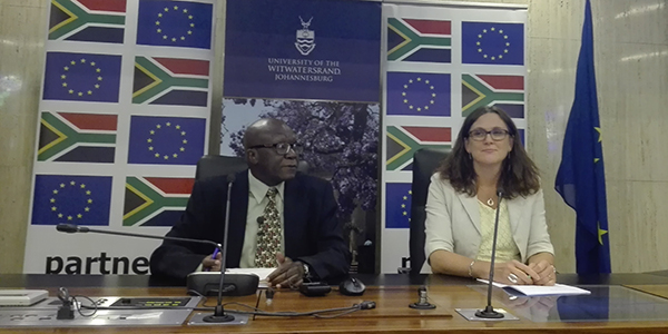 Head of International Relations at Wits, Professor Gilbert Khadiagala with EU Trade Commissioner Cecilia Malstrom
