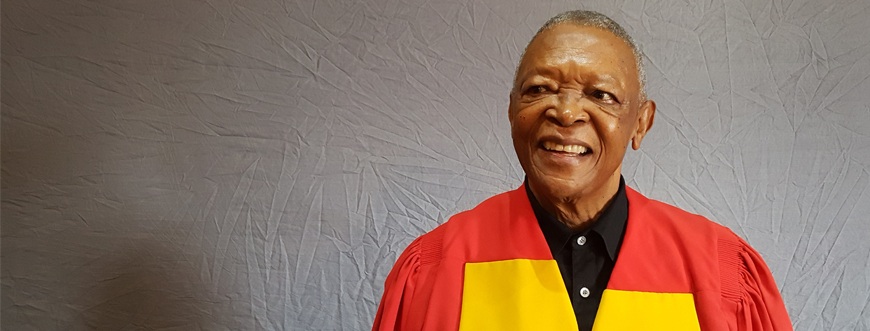 Wits University confers an honorary Doctorate of Medicine on music legend Hugh Masekela. © Wits University