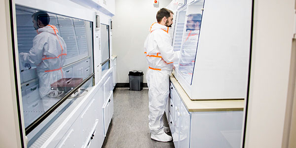 Dr Grant Bybee working in the new Geosciences Isotope Laboratory