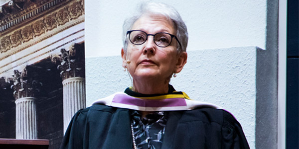 Justice Carol Lewis awarded a Gold Medal for her service to the University.