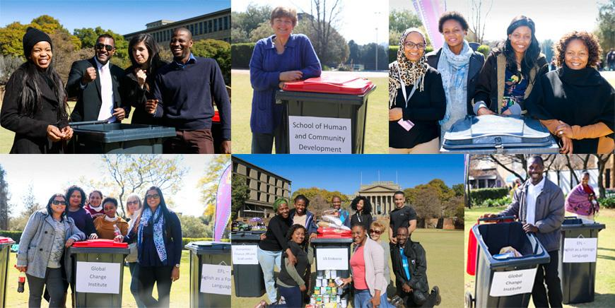 Wits staff members donating toiletries for Mandela Day