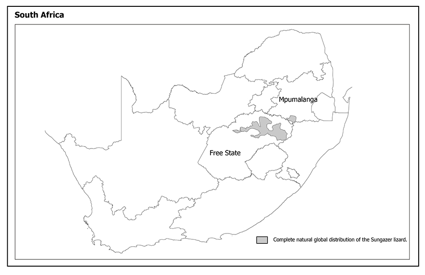 Map of the distribution of Sungazers in South Africa