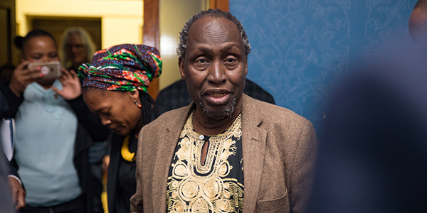 Professor Ngũgĩ wa Thiong'o on the way to deliver a public lecture entitled Secure the Base: Decolonise the Mind.