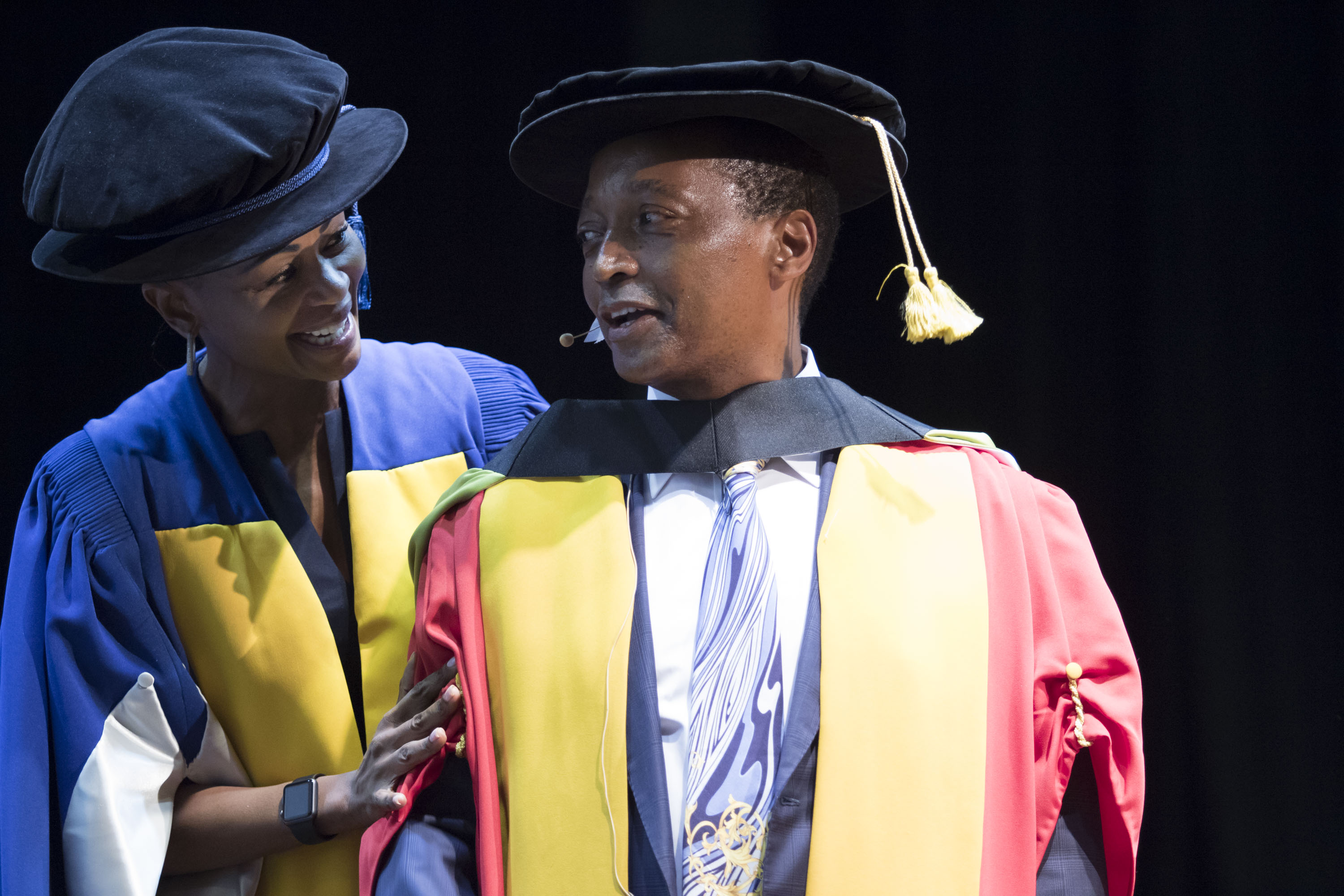 Business tycoon and philanthropist Patrice Motsepe with Wits Chancellor Justice Dikgang Moseneke