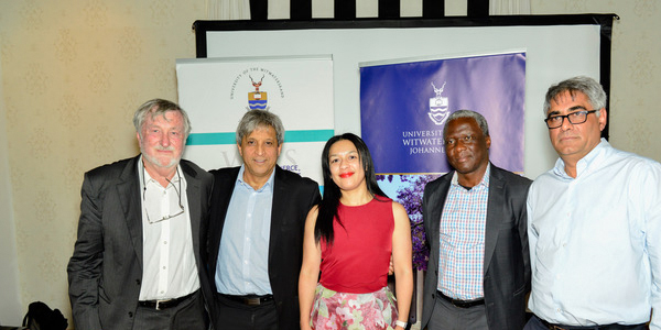 Professor Eddie Webster, Professor Adam Habib, Nicolette Naylor, Isaac Shongwe and Professor Imraan Valodia at the launch of the Southern Centre for Inequality Studies