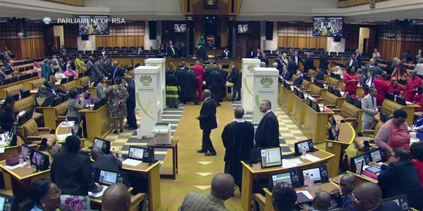MPs vote in the motion of no confidence in President Jacob Zuma in the South African Parliament.