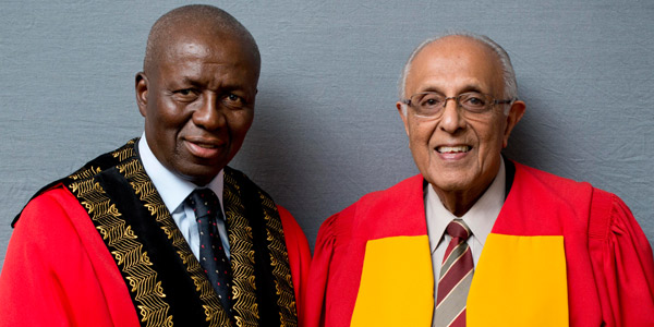 Wits Chancellor Dikgang Moseneke and Ahmed Kathrada who received an honorary doctorate in 2012_© Wits University