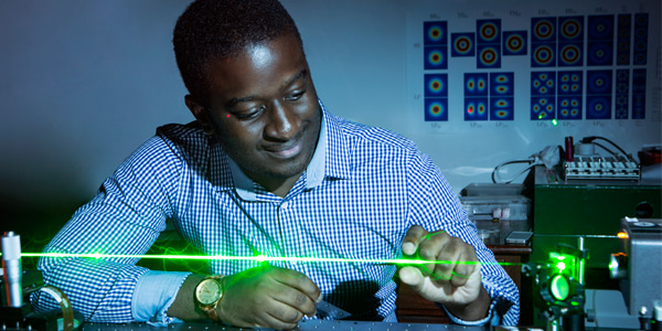 Bienvenu Ndagano, PhD student and first author on the paper for classical entanglement. Credit: Wits University
