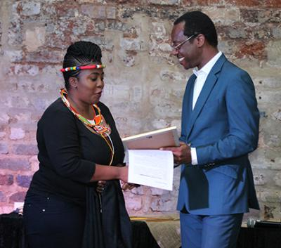 Nqobile Malaza with Professor Tawana Kupe as she receives the VC's Transformation Award 2016