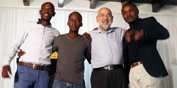 Professor Barry Dwolatzky with the three winners Methembe Dlamini (2), Thapelo Sekwena (1) and Absalom Mpanze (3)