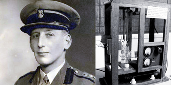 Professor Basil Schonland (left) and the JB1 radar transmitter.
