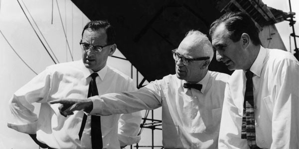 Michael Lewis, Ove Arup and Jack Zunz on site at the Sydney Opera House in 1966. Credit: Arup