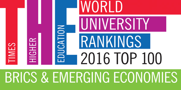prestigious Times Higher Education (THE) BRICS & Emerging Economies Rankings 2017