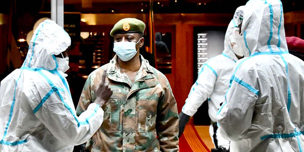 Health checks, face masks and SANDF security ©GovernmentZA/Flickr