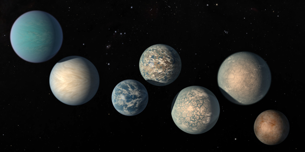 The seven Earth-size planets of TRAPPIST-1, an exoplanet system about 40 light-years away, based on data current as at February 2018. The image shows the planets' relative sizes but does not represent their orbits to scale. The art highlights possibilities for how the surfaces of these intriguing worlds might look based on their newly-calculated properties. Picture: NASA/JPL