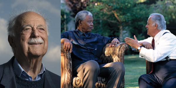 Advocate George Bizos (foto left: ©Brett Eloff) and with President Nelson Mandela (©Wits University).