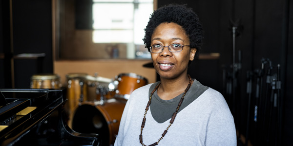 Dr Lindelwa Dalamba, musicologist and jazz historian in the Wits School of Arts. ©Lauren Mulligan