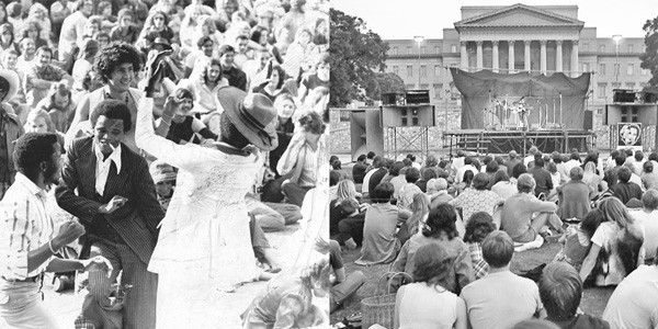 Wits University students enjoy the music at the Free People's Concert, held on 23 February 1973, on the Library Lawns, Braamfontein Campus East. ©Josh Spencer
