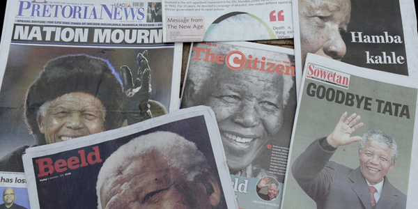 South African newspaper's reaction to the death of Nelson Mandela. ©Lefty Shivambu