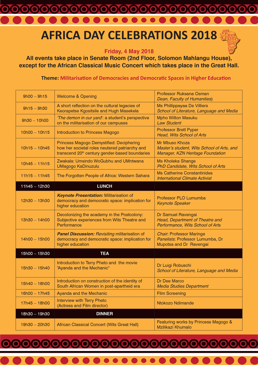 Africa Day programme of events