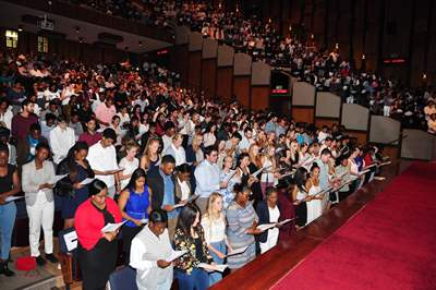 Wits students from the Faculty of Health Sciences take a modified Hippocratic Oath at a ceremony on Wits Education Campus in January 2017