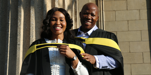 Wits staff members, Johannes Mogotsi and his wife, Elizabeth Mogotsi graduating