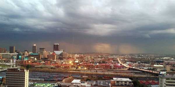 Stormy weather over Johannesburg in South Africa. © Wits University