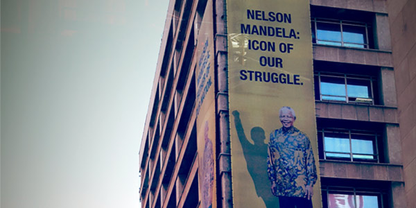 Nelson Mandela billboard in the Johannesburg CBD