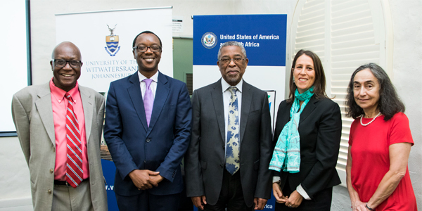 Prof. Gilbert Khadiagala, Prof. Tawana Kupe, Moeletsi Mbeki, Jessye Lapenn and Dr Marion Bergman at the African Centre for the US study conference