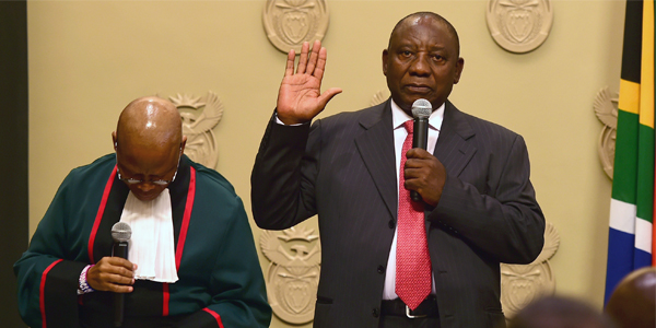Cyril Ramaphosa is sworn in as President of South Africa.