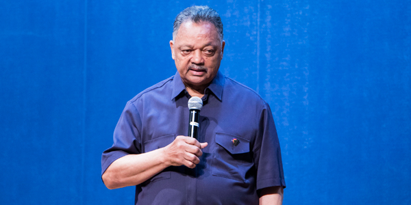American civil rights activist, Reverend Jesse Jackson delivering a talk at Wits University